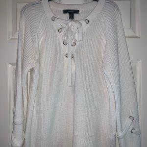 Forever 21 Gorgeous White Sweater Size Medium
